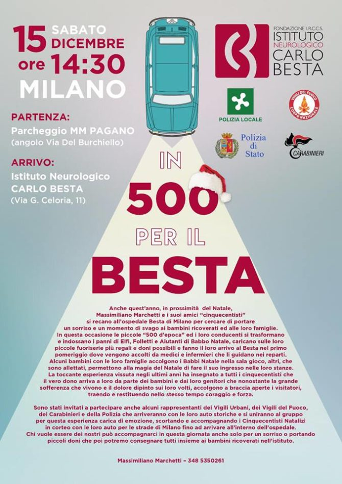 Ancora una volta le Fiat 500 possono aiutare i bambini del Besta