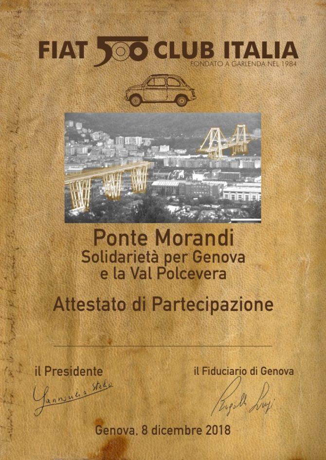 Il Fiat 500 Club Italia per i commercianti e le famiglie del Ponte Morandi
