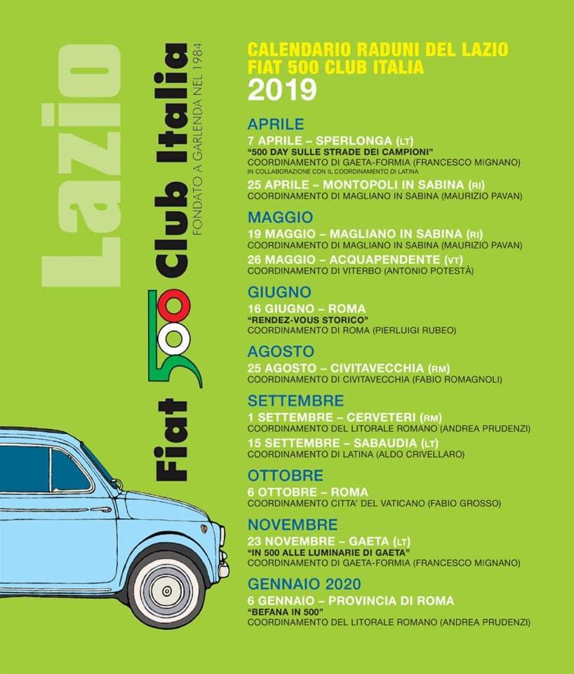 Calendario Raduni Fiat 500 2020.Calendario Raduni Fiat 500 2020