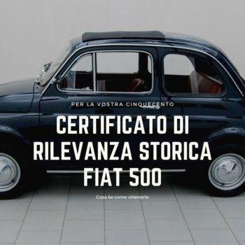 I tre certificati per le nostre Fiat 500 d'epoca.
