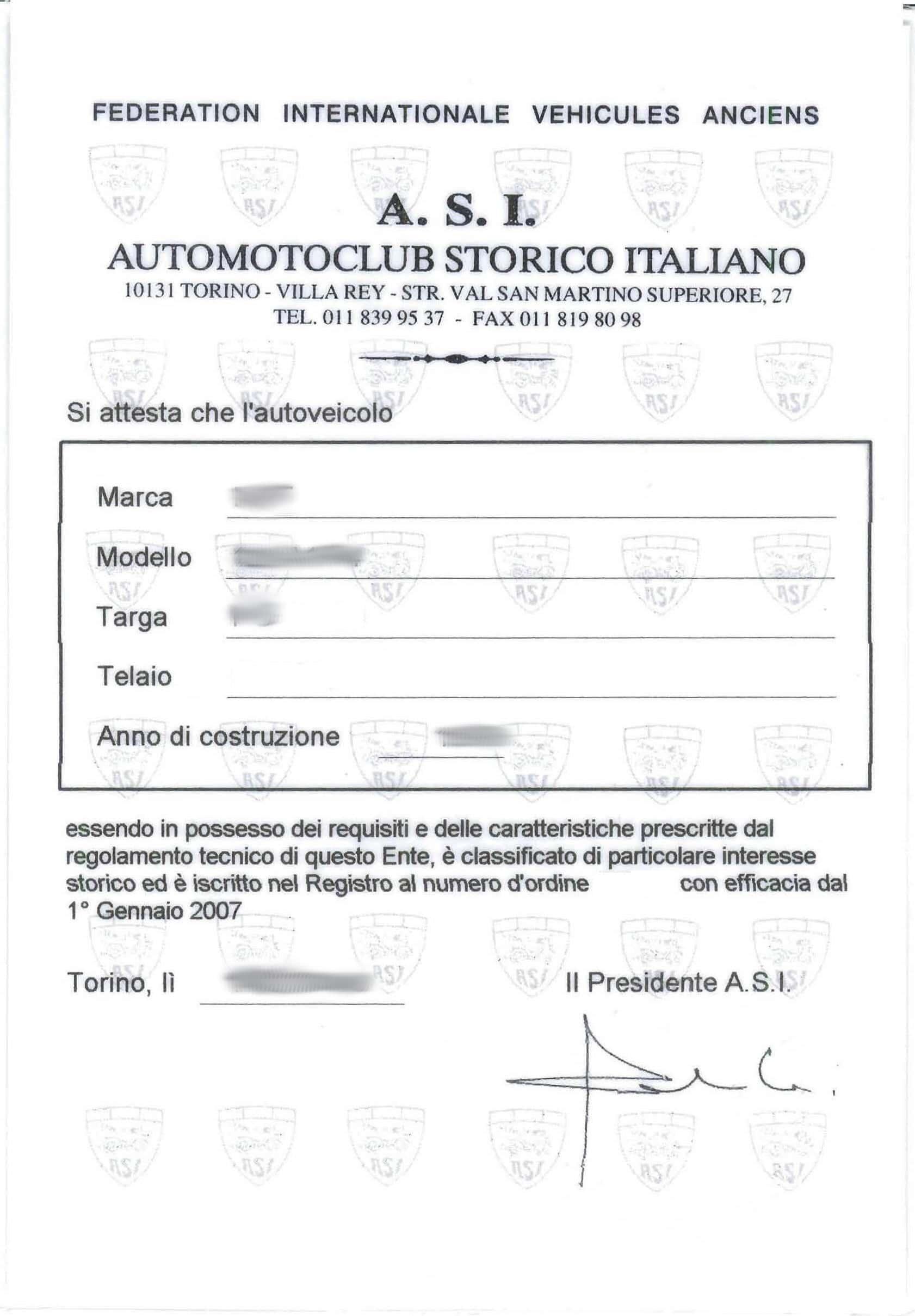 certificati rilevanza storica fiat 500